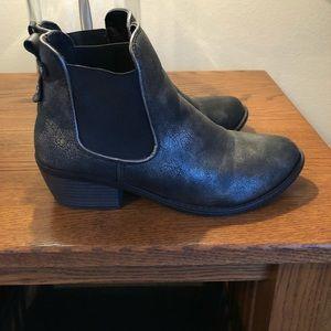 Black metallic booties, worn twice